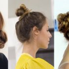 Chignon bun cheveux mi long